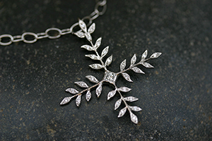 Recycled Platinum Small Wheat Cross with Ethically Sourced Diamonds on Platinum Tiny Lacy Chain, white, pendant, religious, leaf, leaves, vine, organic, nature