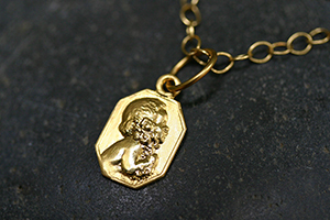 22K Recycled Gold Child Charm on 22K Gold Tiny Lacy Chain, heirloom, pendant, yellow, cherub, angel