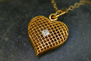 22K Recycled Gold Lacy Heart Locket with Ethically Sourced Diamonds on 22K Gold Tiny Lacy Chain, yellow, heirloom, honeycomb, pendant