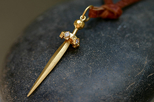 22K Recycled Gold Sword Charm with Ethically Sourced Diamonds, yellow, medieval, pendant, dagger, knife
