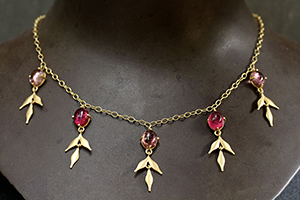 22K Recycled Gold Lyrical Wheat Necklace with Ethically Sourced Pink Tourmalines, colored stone, leaf, leaves, flex, colored, choker
