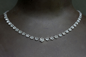 Recycled Platinum Hexagonal Bezel Necklace with Ethically Sourced Rose Cut Diamonds, hex, geo, rosecut, choker