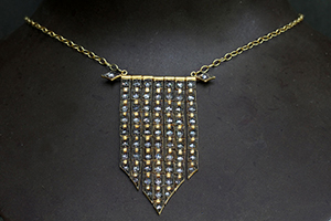 22K Recycled Gold Medieval Flag Necklace with Ethically Sourced Rose Cut Diamonds, flex, rosecut