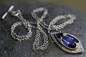 Recycled Platinum Jeweled Thorn Necklace with Ethically Sourced Tanzanite and Diamonds, colored stone, colored
