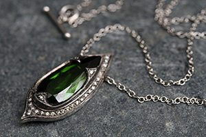 Recycled Platinum Jeweled Thorn Necklace with Ethically Sourced Green Tourmaline and Diamonds, colored stone, colored