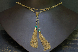 22K Recycled Gold Tassel Emerald Bead Lariat, yellow, colored stone, necklace, colored
