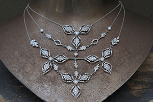 Recycled Platinum Rose Petal Necklace with Ethically Sourced Diamonds, flower, leaf, leaves, organic, nature, collar, bib, choker