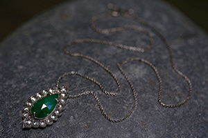 Recycled Platinum Lace Edged Necklace with Ethically Sourced Emerald, Rose Cut and White Diamonds, colored stone, colored