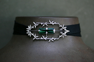 Recycled Platinum Bamboo Window Choker with Ethically Sourced Green Tourmaline and Diamonds on Velvet Ribbon, leaf, leaves, thorn, colored stone, colored