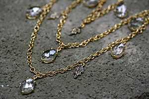 22K Recycled Gold White Topaz Teardrop and Leaves Fringe Chain with Ethically Sourced Diamonds, yellow, leaf, necklace