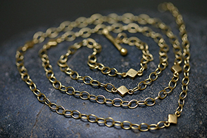 "22K Recycled Gold 10 Small Diamond Shapes 32"" Long Necklace, geo, chain"