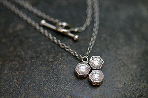 Recycled Platinum Triple Hexagonal Bezel Set Necklace with Ethically Sourced Diamonds, hex