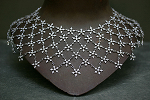Recycled Platinum Fairy Mesh Collar with Ethically Sourced Diamonds, flower, necklace, petal, thorn, snowflake, bib, medieval, choker