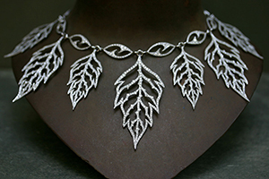 Recycled Platinum Skeleton Leaf Necklace with Ethically Sourced Diamonds, collar, leaves, bib, choker