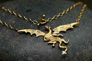 22K Recycled Gold and Platinum Dragon Necklace with Ethically Sourced Ruby and Diamonds, colored stone, animal, medieval, mixed metal