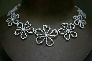 Recycled Platinum Flower Thorn Frame Necklace with Ethically Sourced Diamonds, nature, organic, collar, choker