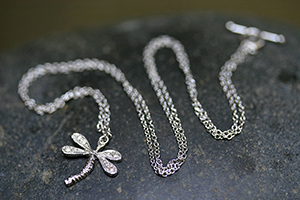 Recycled Platinum Dragonfly Necklace with Ethically Sourced Diamonds, nature, insect