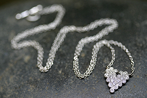 Recycled Platinum Scalloped Heart Necklace with Ethically Sourced Diamonds