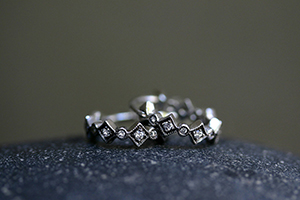 Recycled Platinum Blackened Geo Hoops with Ethically Sourced Diamonds