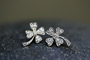 Recycled Platinum 4-Leaf Clover Posts with Ethically Sourced Diamonds, leaf, leaves, flower, post, stud, studs
