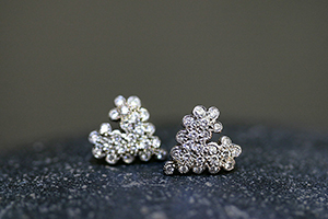 Recycled Platinum Scalloped Heart Posts with Ethically Sourced Diamonds, stud, studs, post