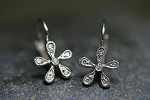 Recycled Platinum Medium Daisy Earrings with Ethically Sourced Diamonds, flower
