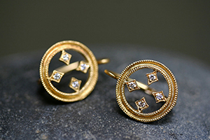22K Recycled Gold and Platinum Double Milgrain Stained Class Circle Earrings with Ethically Sourced Diamonds, geo, cut out, yellow