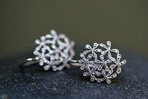 Recycled Platinum Baby Breath Earrings with Ethically Sourced Diamonds, flower, nature, petal, organic