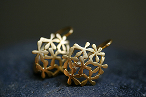 22K Recycled Gold Baby Breath Earrings, flower, petal, nature, organic, yellow