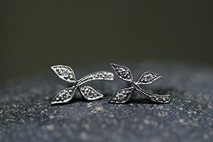 Recycled Platinum 3-Leaf Posts with Ethically Sourced Diamonds, leaf, leaves, stud, organic, nature, studs, post