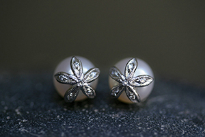 Recycled Platinum Flower Cap Posts with Ethically Sourced Pearls and Diamonds, petals, stud, nature, organic, studs, post