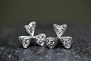 Recycled Platinum Wildflower Posts with Ethically Sourced Diamonds, flower, petals, stud, studs, post