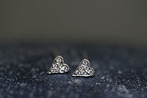 Recycled Platinum Tiny Heart Posts with Ethically Sourced Diamonds, stud, studs, post