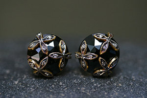 22K Recycled Gold 4 Petal Overlay Posts with Ethically Sourced Black Spinel and Diamonds, stud, flower, leaf, leaves, colored stone, colored, studs, post