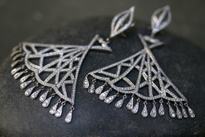 Recycled Platinum Fan Chandelier Earrings with Ethically Sourced Diamonds, fringe, cut out, chandelier