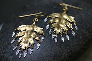 22K Recycled Gold Large Leaf Earrings with Platinum Dewdrops Set with Ethically Sourced Diamonds, leaves, mixed metal, nature, fringe, organic, yellow, chandelier