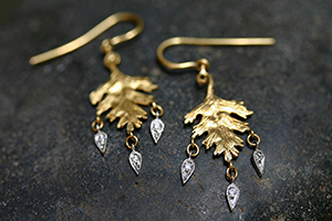 22K Recycled Gold Small Leaf Earrings with Platinum Dewdrops Set with Ethically Sourced Diamonds, mixed metal, leaves, nature, organic, chandelier