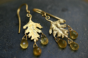 22K Recycled Gold Small Leaf Earrings with Ethically Sourced Citrine Dewdrops, colored stone, leaves, nature, organic, yellow, colored, chandelier