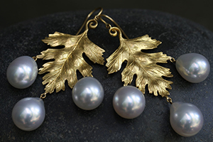 22K Recycled Gold Large Leaf Earrings with South Sea Pearl Dewdrops, colored stone, leaves, nature, yellow, organic, chandelier