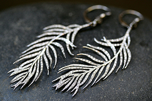 Recycled Platinum Feather Earrings with Ethically Sourced Diamonds