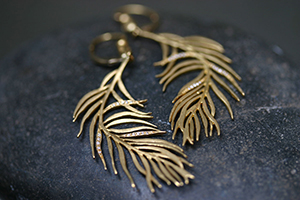 22K Recycled Gold Feather Earrings with Ethically Sourced Diamonds, yellow