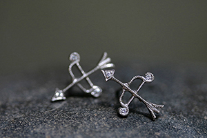 Recycled Platinum Tiny Bow and Arrow Posts with Ethically Sourced Diamonds, cupid, stud, studs, cupid, post