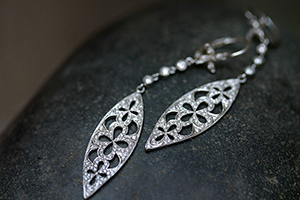 Recycled Platinum Long Cut-Out Seed Earrings with Ethically Sourced Diamonds, petal, cut out