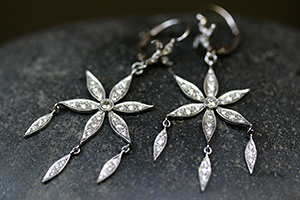 Recycled Platinum Large 6 Petal Flower with Dewdrops Earrings with Ethically Sourced Diamonds, fringe, chandelier