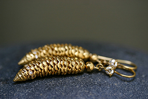 22K Recycled Gold Pine Cone Earrings with Ethically Sourced Diamonds, flex, yellow, organic, nature