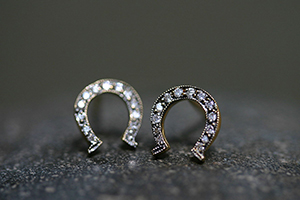 22K Recycled Gold Small Blackened Horseshoe Posts with Ethically Sourced Diamonds, yellow, stud, studs, horse shoe, post