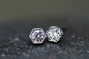 Recycled Platinum Hexagonal Bezel Set Posts with Ethically Sourced Diamonds, stud, studs, post