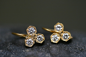 22K Recycled Gold Triple Hexagonal Bezel Set Earrings with Ethically Sourced Diamonds, yellow, hex