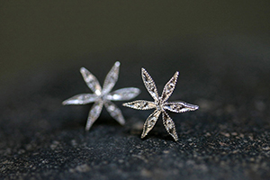 Recycled Platinum Star Flower Posts with Ethically Sourced Diamonds, stud, petal, post