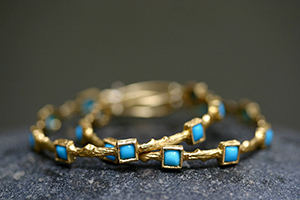22K Recycled Gold Square Branch with Thorns Hoops Set with Turquoise, yellow, colored stone, colored